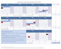 školski kalendar - najava